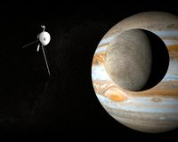 Sonde d'espace Voyager et Europa de lune de Jupiter Photo libre de droits