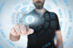 Sonde translucide émouvante d'empreinte digitale d'homme d'affaires image libre de droits