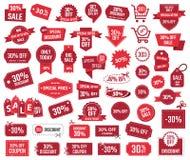 Sonderangebot 30 Prozent, Verkaufsfahnen und Kupons, 30 Prozent heruntergesetzt Rabatt Stockbild