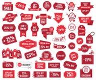 Sonderangebot 25 Prozent, Verkaufsfahnen und Kupons, 25 Prozent heruntergesetzt Rabatt Stockfotos