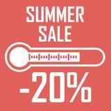 Sonderangebot, Sommerrabatt in Form eines Thermometers, der zwanzig Prozent zeigt Klarer Hintergrund mit Sun, Markierungsfahnen,  Stockfotografie
