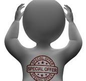 Sonderangebot-Stempel auf Mann zeigt Rabatt-Produkt Stockfotografie