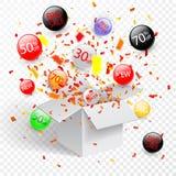 Sonderangebotverkaufsrabattsymbol mit offenen Geschenk- und Flussaufklebern Bedienungsfreundlich für Ihr Design stock abbildung