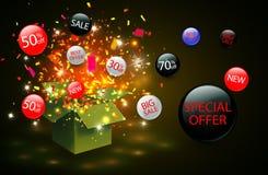 Sonderangebotverkaufsrabattsymbol mit offenen Geschenkbox- und Flussaufklebern Bedienungsfreundlich für Ihr Design lizenzfreie abbildung
