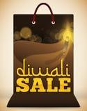 Sonderausgabe der Einkaufstasche mit Diya Design für Diwali, Vektor-Illustration Stockbilder