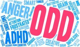 SONDERBARE ADHD-Wort-Wolke Lizenzfreie Stockbilder
