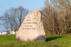 Stone of Raadmand Hans Norsk. Sonderborg, Denmark - February 14, 2019: Stone of Raadmand Hans Norsk royalty free stock photo