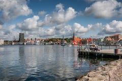 Sonderborg harbor waterfront in the summertime, Als Denmark. Sonderborg harbor waterfront in the summertime, Denmark Royalty Free Stock Photo