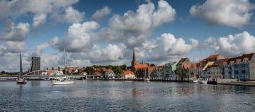 Sonderborg harbor waterfront in the summertime, Als Denmark. Sonderborg harbor waterfront in the summertime, Denmark Stock Image