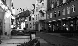 Sonderborg, Southern Denmark. Evening in Sonderborg, Southern Denmark. Black and White Stock Image