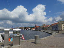 Sonderburg harbour. Clouds over Sonderburg harbour promenade, Denmark Stock Photography