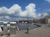 Sonderburg harbour. Clouds over Sonderburg harbour promenade, Denmark stock photography