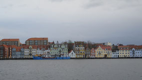 Sonderburg harbour front. Colourfull buildings on harbour front in Sonderburg, Denmark Royalty Free Stock Photo