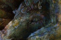 Sonderkommando des schlafenden Einhornkopfes, dekorative Zeichnung lizenzfreie abbildung