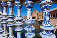 Sonderkommando Plaza de Espana Balustrade, Sevilla, Spanien Lizenzfreies Stockfoto