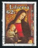 Sonderkommando von Madonna mit dem Kind umgeben von fünf Heiligen durch Raphae Lizenzfreies Stockfoto