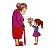 Sondotter som ger blommor till farmodern Royaltyfria Bilder