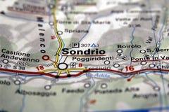 Sondrio на карте, Италия Стоковые Фото