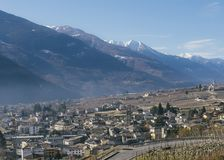 Sondrio is an Italian town and comune located in Italy. Sondrio is an Italian town and comune located in the heart of the wine-producing Valtellina region, with royalty free stock images