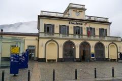 Sondrio Railway Station. In winter day stock photo