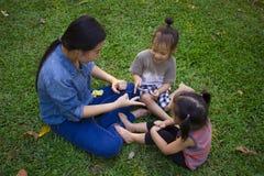 Sonen och dottern f?r livsstilst?endemamma i lycka p? yttersidan i ?ngen, den roliga asiatiska familjen i ett gr?nt parkerar royaltyfri bild