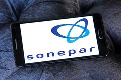 Sonepar company logo. Logo of Sonepar company on samsung mobile. Sonepar is an independent family owned company with global market leadership in B-to-B Royalty Free Stock Photo