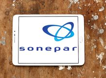 Sonepar company logo. Logo of Sonepar company on samsung tablet. Sonepar is an independent family owned company with global market leadership in B-to-B Stock Image