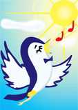 Song. Illustration raster, singing bird on a background of blue sky and bright sun Royalty Free Stock Photos
