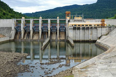 Song Bung hydroelectric plant, energy. Song Bung hydroelectric plant on Ho Chi Minh trail, at Quang Nam, Viet Nam, large spillway and water reservoir to product Stock Photo