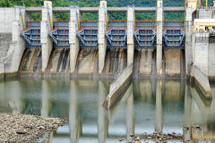 Song Bung hydroelectric plant, energy. Song Bung hydroelectric plant on Ho Chi Minh trail, at Quang Nam, Viet Nam, large spillway and water reservoir to product Stock Image