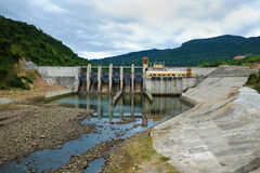Song Bung hydroelectric plant, energy. Song Bung hydroelectric plant on Ho Chi Minh trail, at Quang Nam, Viet Nam, large spillway and water reservoir to product Royalty Free Stock Image