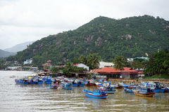 Song Cai river. NHA TRANG, VIETNAM - CIRCA JANUARY 2017 Panorama of river Song Cai Royalty Free Stock Photography