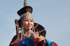 Song and dance company Baikal. ULAN-UDE, RUSSIA - SEPTEMBER 17: Unidentified dancer of Baikal, State Buryat song and dance company, perform in show of Amarhuu royalty free stock photos