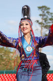 Song and dance company Baikal. ULAN-UDE, RUSSIA - SEPTEMBER 17: Unidentified dancer of Baikal, State Buryat song and dance company, perform in show of Amarhuu royalty free stock image