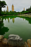 Song dynasty town dali, Yunnan province, China. Rebuild Song dynasty town in dali, Yunnan province, China. Three pagodas and water with reflection royalty free stock photos