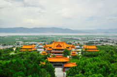 Song dynasty town dali, Yunnan province, China. Rebuild Song dynasty town in dali, Yunnan province, China. Three pagodas and water with reflection royalty free stock photography