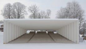 Song festival ground in Viljandi. Sunny winter day, frosty trees in background. Viljandi, Estonia Stock Image