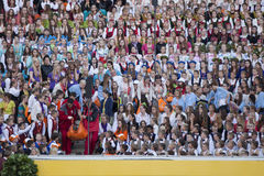 Song festival Riga. Latvia. Latvia's schoolchildren gather in Riga for week-long song, dance festival. Medical assistance on concert Stock Photos