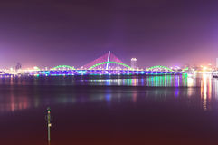 Song Han Bridge at night in Danang Stock Image