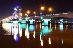 Song Han Bridge at night in Danang Stock Images