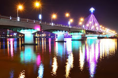 Song Han Bridge at night in Danang Royalty Free Stock Photo