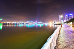 Song Han Bridge at night in Danang Royalty Free Stock Photos