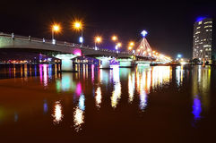 Song Han Bridge at night in Danang Stock Photography