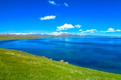 Song Kul Lake 25. Song Kul Lake View Point with Snow Capped Moldo Too Mountains Landscape stock photos