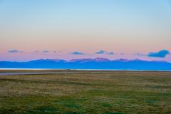 Song Kul lake in sunrise, Kyrgyzstan Royalty Free Stock Images