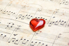 Song of love. Old a classical music they have a red heart. Valentine's day stock image