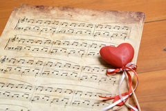 Song of love. Old a classical music they have a red heart. Valentine's day stock photos