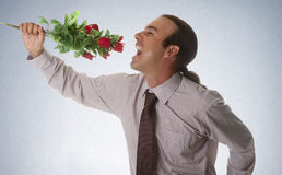 Song love. A man giving flowers to your partner Stock Image