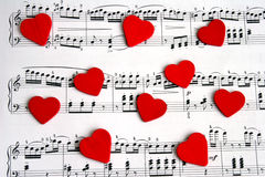 Song of Love. Hearts and notes stock photos