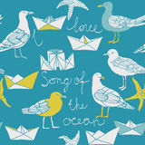 Song Of The Ocean Card. Or seamless nautical pattern with diverse sea gulls and origami folded paper boats on blue Royalty Free Stock Photos